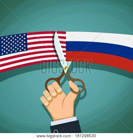 USA and Russian flags are cut with scissors. Confrontation and the Cold War. Stock vector illustration.