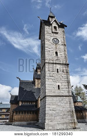 Stone tower and the temple Wang Poland