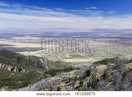An Aerial View of Sierra Vista Arizona from Carr Canyon in the Huachuca Mountains poster