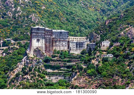 Scenic view of Simonos Petra monastery on Mount Athos, Greece