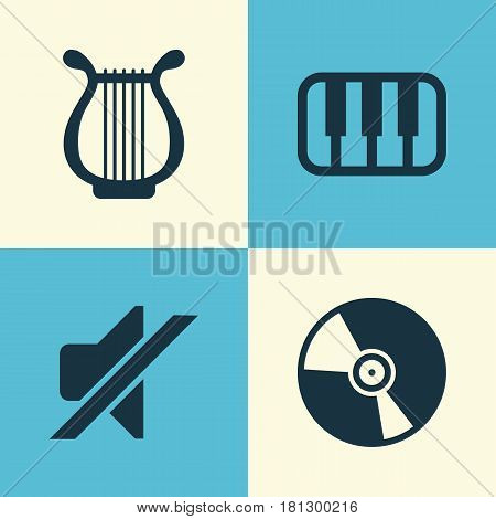 Multimedia Icons Set. Collection Of Cd, Lyre, Silence And Other Elements. Also Includes Symbols Such As Vinyl, Lyre, Keyboard.
