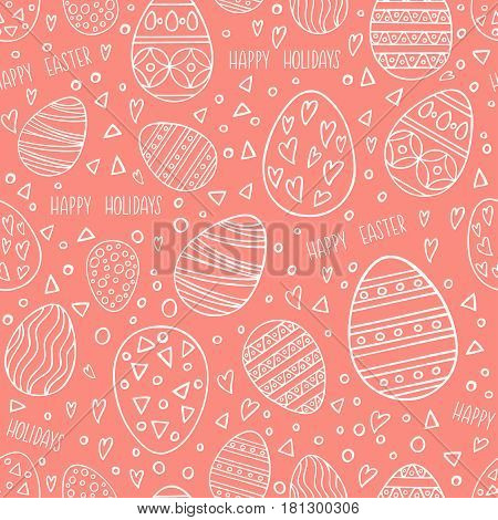 Seamless pattern with hand drawn Easter eggs on pink background. Perfect holidays pattern in line style can use for wrapping paper holidays background