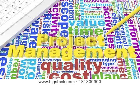 Computer keyboard on white desk with project management keywords wordcloud and yellow pen business concept 3d illustration