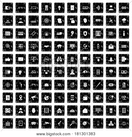100 security icons set in grunge style isolated vector illustration
