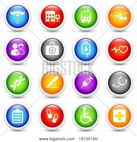 Medical Icon on Reflective Button Collection Original Illustration
