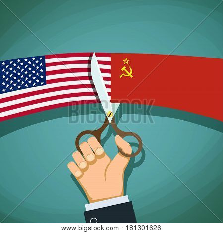 Human hand with scissors cuts the USA flag and the USSR. Cold War. Stock vector illustration.
