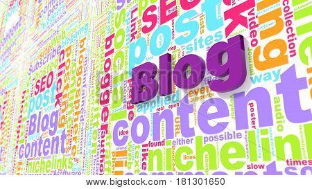 Colored blog keywords wordcloud on wall blogging concept 3d illustration