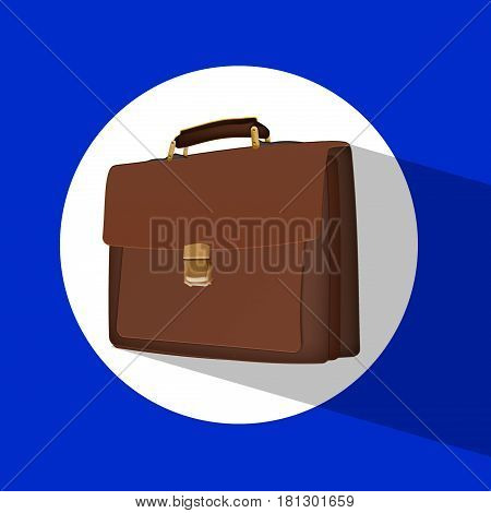 Business brown briefcase on a white background. Flat icon with briefcase on background with shadow
