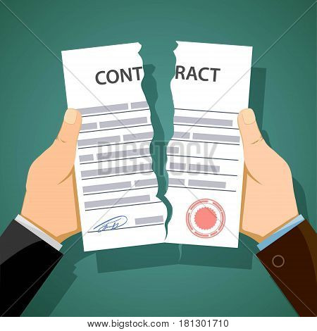 Two men breaking contracts. Dismissal and unemployment. Stock vector illustration.