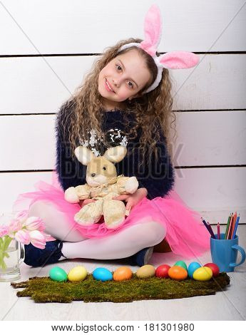Happy Girl With Easter Rabbit Toy, Pencil, Tulip Flowers, Eggs