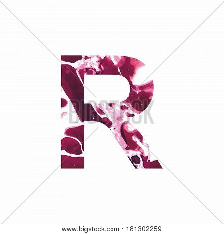 Abstract letter R on a white background in the form of stains of paint. Reminiscent of marble