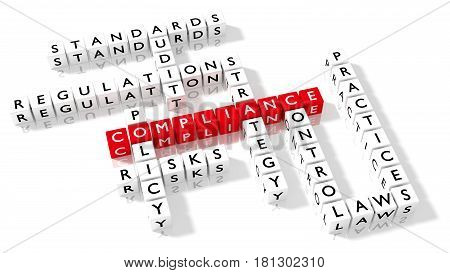 Crossword puzzle showing compliance keywords as dice on a white board business concept 3D illustration