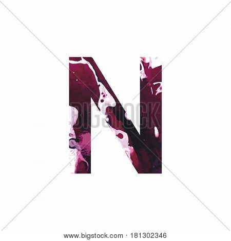 Abstract letter N on a white background in the form of stains of paint. Reminiscent of marble