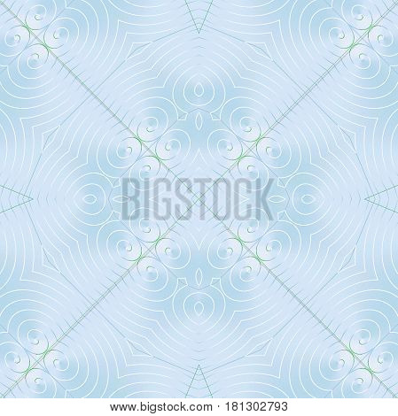 Abstract geometric background, plain, in quiet colors. Regular delicate spirals ornament white on pastel blue shining.