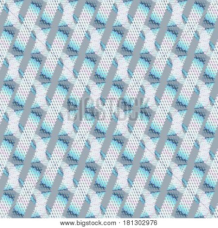 Abstract geometric seamless modern background, dimensional waffle-weave pattern. Regular stripes and wavy lines diagonally in white, pink, light blue and gray.