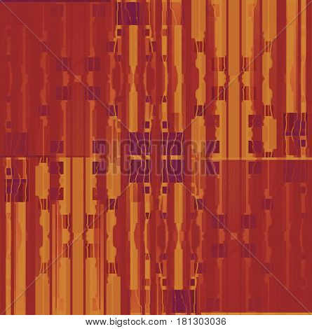 Abstract geometric seamless background. Regular squares and stripes pattern in ocher, terracotta and red brown shades with purple elements shifted.