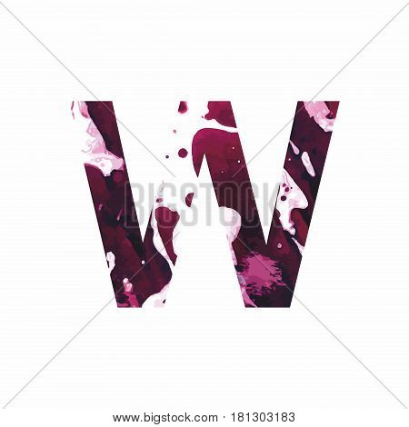 Abstract letter W on a white background in the form of stains of paint. Reminiscent of marble