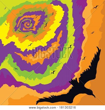 Vector illustration in bright colors of the eye of the storm absorbing a flock of crows