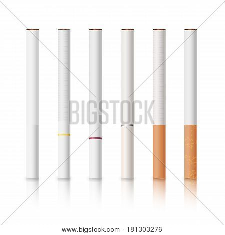 Cigarettes Set With White And Yellow Filters Isolated Vector