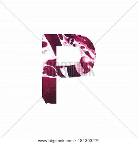 Abstract letter P on a white background in the form of stains of paint. Reminiscent of marble