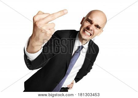 Furious Young Man Shows Middle Finger