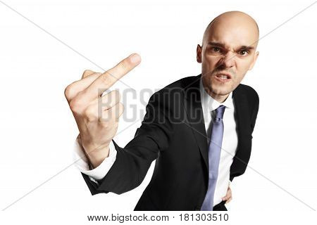 Angry Young Man Shows Middle Finger