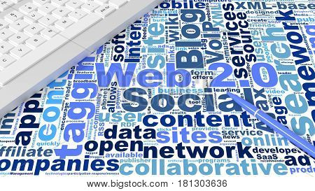 Computer keyboard on white desk with web 2.0 keywords wordcloud and blue pen new internet concept 3d illustration