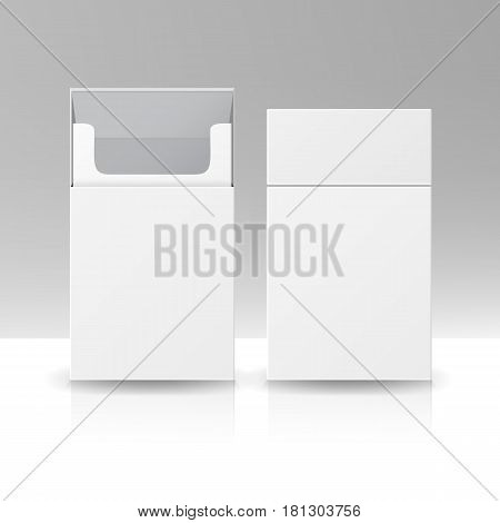 Blank Pack Package Box Of Cigarettes 3D Vector Template For Design. Opened Pack Of Cigarettes
