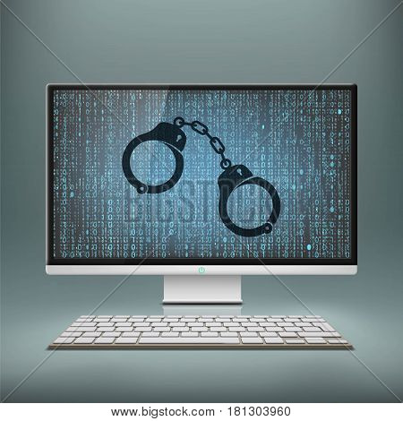 Handcuffs on the monitor screen. Cyber crime and hacker attack. Stock vector illustration.