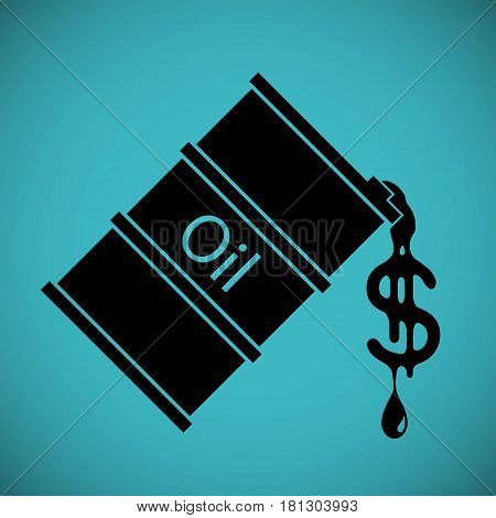 Logo barrel with oil. Drop fuel in the form of dollar currency. Stock vector illustration.