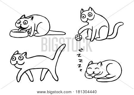 Pussycat emoticons set. Funny cartoon cool character. Contour digital drawing cute cats. White color background. Cheerful pet collection. Vector illustration.