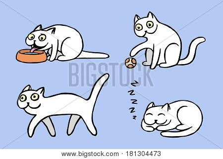 White pussycat emoticons set. Funny cartoon cool character. Contour digital drawing cute cats. Purple color background. Cheerful pet collection for web icons and shirt. Isolated vector illustration.