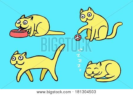 Yellow pussycat emoticons set. Funny cartoon cool character. Contour digital drawing cute cats. Blue color background. Vector illustration.