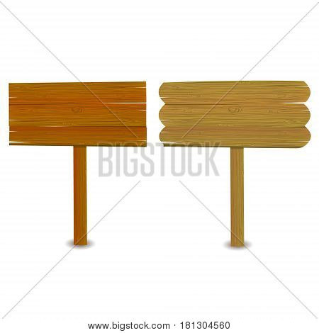 Set of wooden signboards isolated on white. Wood old planks signs.