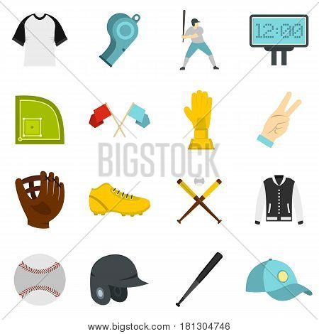 Baseball icons set in flat style isolated vector illustration