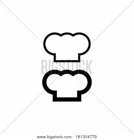 Chef hat silhouette isolated set. Black hat chef cook for logo.