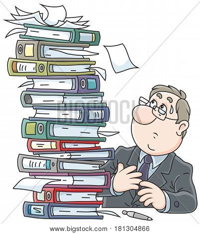 Clerk with a stack of folders with documents
