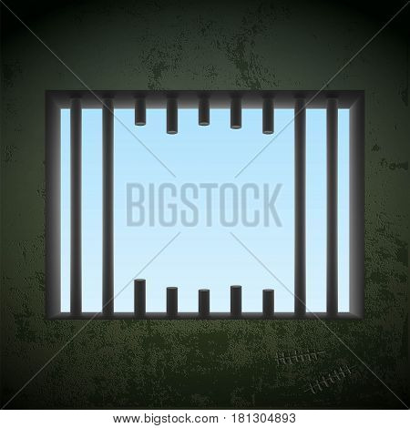 Window with sawn off bars in a prison cell. Jail break. Stock vector illustration.