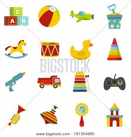 Different kids toys icons set in flat style isolated vector illustration