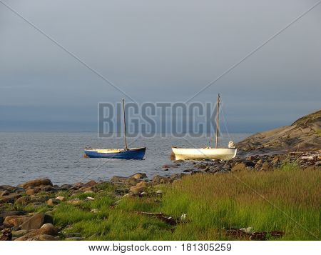 Fishing boats off the coast of the White Sea during the tide. Two old beached wooden rowing boats white and blue weathered and beaten on the shore