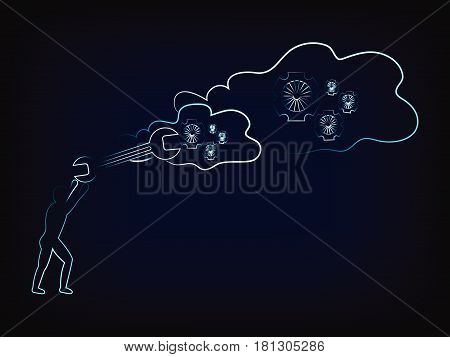 Man With Wrench Fixing Cloud Computing