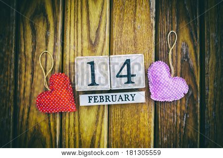 February 14th Wooden Calendar the special day