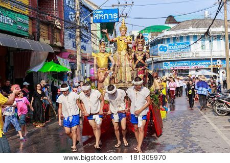Lampang, Thailand - 12 April 2017: Songkran Festival Parade Traditional Culture Of Salung Luang Proc