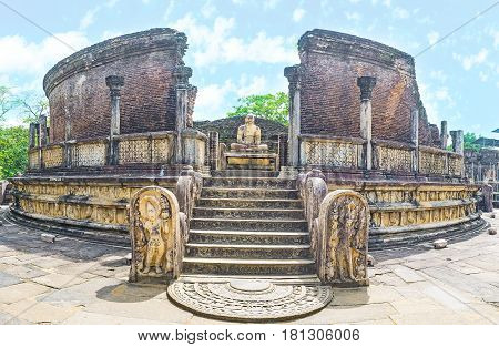 Panorama Of The Ruins Of Polonnnaruwa Vatadage