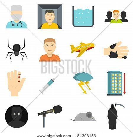 Phobia symbols icons set in flat style isolated vector illustration