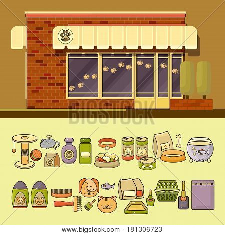Vector illustration of shop and set of cute various colorful pet icons. Flat design vector illustration of small business concept. Stylish pet boutique. Store design template.