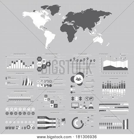 Big set of infographics elements. Vector Illustration for business presentation booklet website etc.