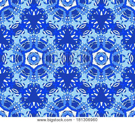 Kaleidoscope Pattern. Seamless blue background. Star mandala geometric graphic print. Psychedelic design element for wallpaper, scrapbooking, fabric. Flower vector illustration