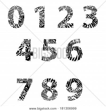 Illustration embossed numbers for training on a white background.