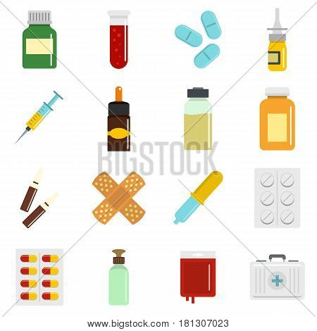Different drugs icons set in flat style isolated vector illustration